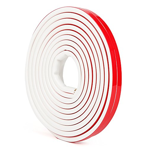(Silicone Rubber Weather Stripping for Doors and Windows, Multi-Hole D Shaped Flexible Ageing-Resistant Soundproof Acrylic Self Adhesive Sealing Strip Tape, 3/8 inch x 1/4 inch x 19.6 Feet (White))