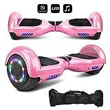 6.5'' inch Wheels Electric Smart Self Balancing Scooter Hoverboard with Speaker LED Light - UL2272 Certified (-Carbon Fiber Design Pink)
