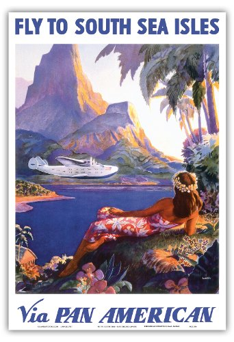 Fly to South Seas Isles via Pan American - Pan American Airlines (PAA) - Vintage World Travel Poster by Paul George Lawler c.1940s - Hawaiian Master Art Print - 13 x 19in (Ship Travel Vintage Poster)