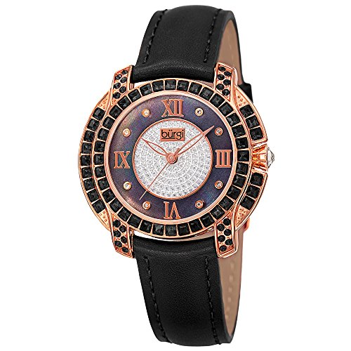 (Burgi Swarovski Crystal Women's Watch - Unique Diamond Hour Markers on Mother of Pearl Dial With Colored Swarovski Crystals On Genuine Leather Strap Watch - BUR156)