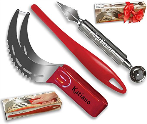 Watermelon Slicer Deluxe 3-PC Set (includes Stainless Steel Slicer/Tong Combo, Melon Baller/Carver-in-one, Flexible Plastic Edge Coring Knife)