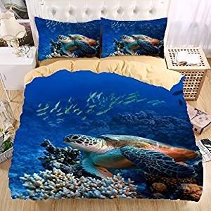il ocean bedding watercolor duvet market ghfv blue cover etsy