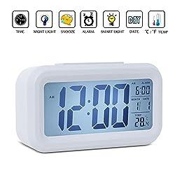 Alarm Clock, Noza Tec LED Desk Clock Slim Digital Alarm Clock Large Display Travel Alarm Clock (Battery Operated, Temperature Display, Snooze Function, Back-light)