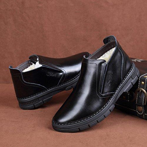 GRRONG Zapatos De Cuero De Los Hombres Del Ocio Plus Cachemira Negro Caliente Black