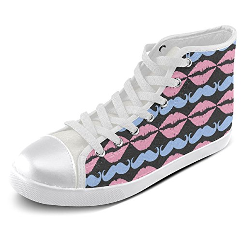 Artsadd Custom Girly Pink Hipster Mustache and Lips High Top Canvas Shoes For Men(Model002)