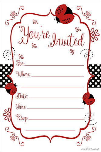 Ladybug Party Invitations - Birthday, Baby Shower, Any Occasion - Fill In Style (20 Count) With Envelopes - Ladybug Birthday Party Invitations