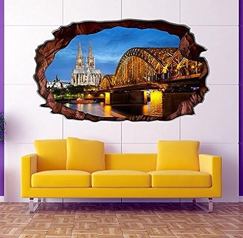 3D Wandtattoo Koln Skyline Kolner Dom Wandbild Wandsticker Selbstklebend Wandmotiv Wohnzimmer Wand Aufkleber 11E755