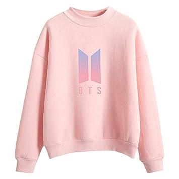 Dabixx Mujer Hombre BTS Logo Degradado de Color Sudadera con Capucha Sudadera con Capucha Streetwear Rosa: Amazon.es: Hogar