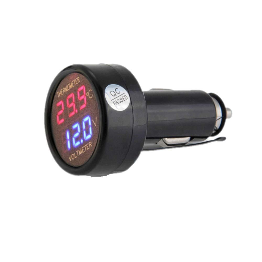 JZK 2 in 1 car truck bus voltmeter & thermometer display, 12v 24v battery voltage temperature meter monitor tester gauge indicator