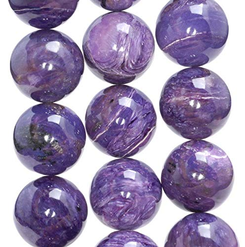 18MM Genuine Charoite Gemstone Grade AAA Round Loose Beads, Beading, Jewelry Making, DIY Crafting, Arts & Sewing by Beads