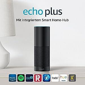 Wir stellen vor: Echo Plus - Mit integriertem Smart Home-Hub (schwarz) - inklusive Philips Hue White E27 LED Lampe