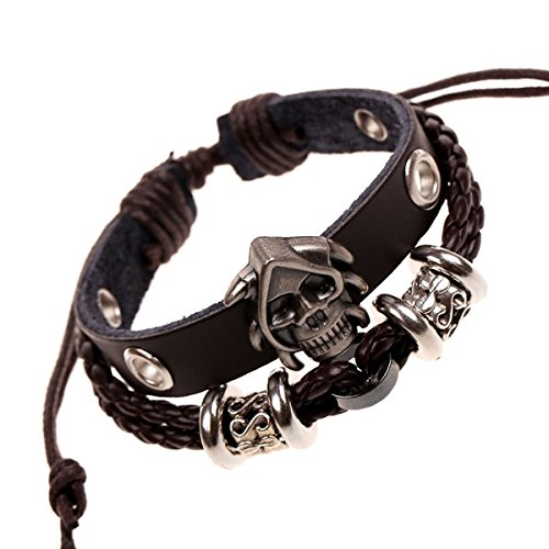 Punk Rock Retro alloy skull leather bracelet Bangle Wrap Wrist Band Wristband