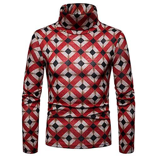 Simayixx Blouses for Men, Mens Graffiti Print Turtleneck Pullover Sweaters Gentle Sweatshirts Tank Top Coat Shirts