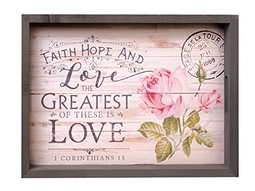 P. GRAHAM DUNN Faith Hope & Greatest is Love Floral 20 x 15 Inch Solid Pine Wood Farmhouse Serving Tray ()