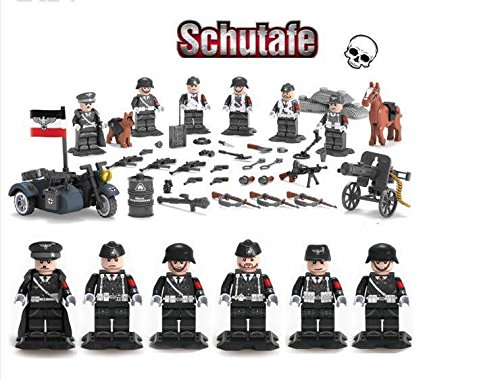 WW2 SS German Army , Panzer Division Guard, Soldiers, Guns , Weapons,a guard doge, Machine -Gun and motorcycle set of 6 Minifugurs - Military Building Block - German Army Motorcycles