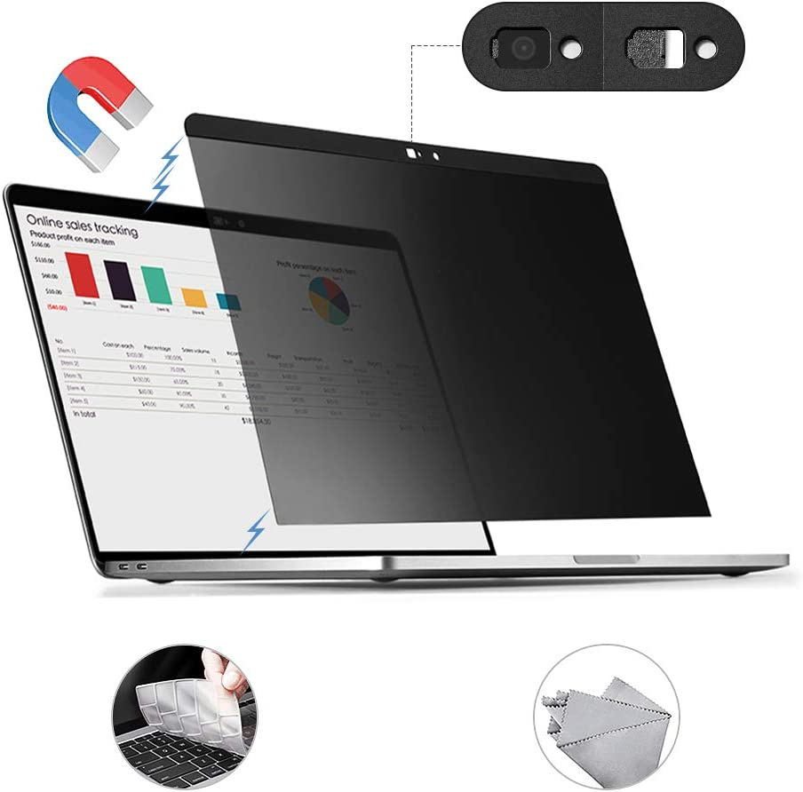 for MacBook Pro 13 inch Privacy Screen Protector Filter, Magnetic Installation, Webcam Cover, TPU Keyboard Cover, (for MacBook pro 13 inch(2016~2019) New Air 13 inch)