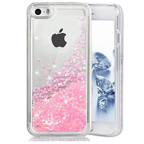 iPhone SE Case, SUPVIN Liquid Case for iPhone SE, iPhone 5S/5, Fashion Creative Design Flowing Liquid Floating Luxury Bling Glitter Sparkle Heart Hard Case for iPhone SE, iPhone 5S (Heart: Pink)