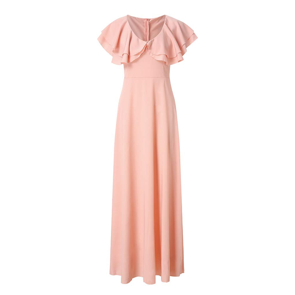 TANLANG Club Dresses for Women V-Neck Lace Ruffled Short-Sleeved Long Full-Cover Dress Ball Gowns Maxi Dress with Belt Pink by TANLANG-Dress (Image #2)