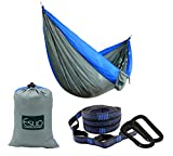 Esup Camping Hammock -Multifunctional Lightweight Nylon Portable Hammock, Best Parachute Hammock For Backpacking, Camping, Travel(Gray/Blue, 108''(L) x 55''(W))