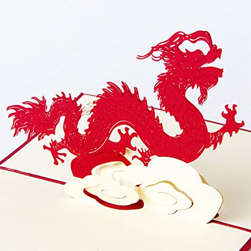 (Best Quality - Cards & Invitations - Animal Theme Dragon Handmade 3D Pop UP Greeting Cards For Birthday Greeting & Gift Greeting Cards CD025 - by SeedWorld - 1)