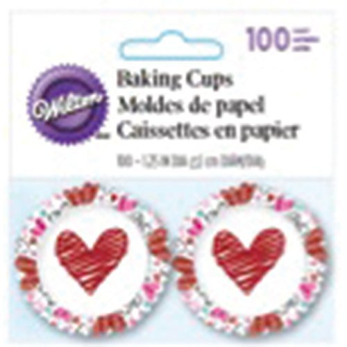 Wilton 415-2797 100 Count Valentine's Day Heart Mini Baking Cups, Assorted (Valentine Cupcake Liners Mini compare prices)