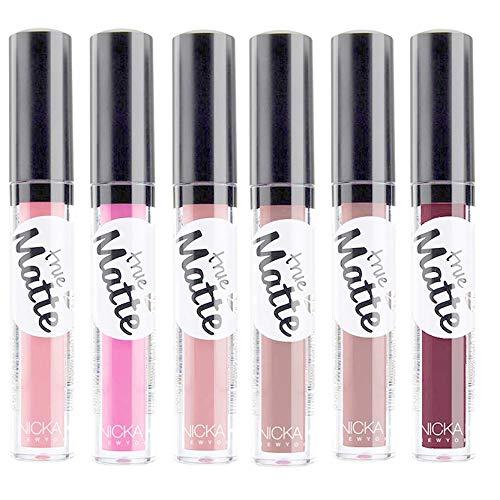 Nicka K True Matte Lipgloss 6 Pcs Set - Nude Matte Liquid Lipstick, Pink, Brown, Beige