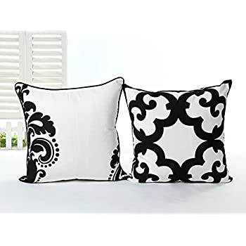 L&J.ART® 2 PCS 18'' Black & White Abstract Cotton Canvas Pillow Case Cushion Covers 2HB2