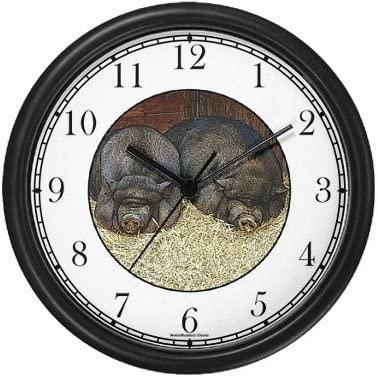 WatchBuddy Two Pot Belly Bellied Pigs Hogs Wall Clock Timepieces Black Frame