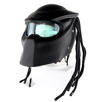 Fayoo Predatorenhelmets Universal Predator Máscara De Cara Completa De Fibra De Carbono Trenzas con Flecos Casco