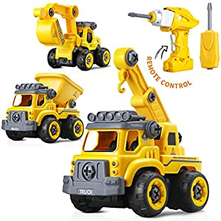 3-in-1 Take Apart Toy with Electric Drill and Screwdriver, Stem Learning Toy, Building Vehicle Play, Truck Toys, Assembly Toy, Early Educational Toy, Best Toy to Boys, Gift for Kid Age 3 & Up