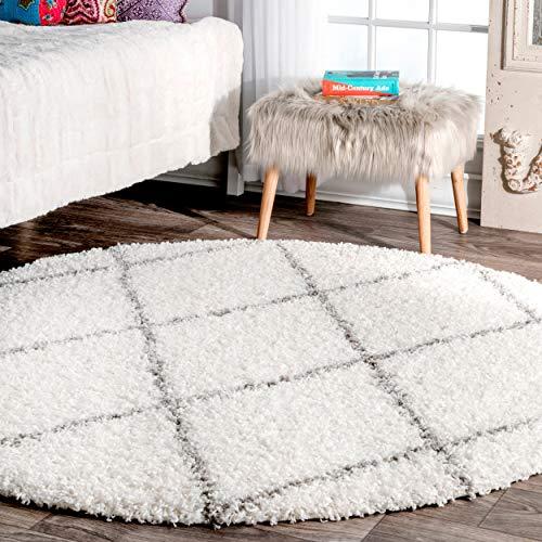 nuLOOM Cozy Soft and Plush Diamond Trellis Shag Rug, 8' Round, White