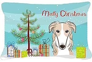Árbol de Navidad y Borzoi tela almohada decorativa BB1600PW1216