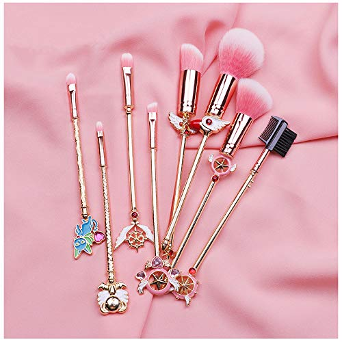 Makeup Brushes Set Magic Sailor Moon/Sakura Cosmetic Makeup Tool Kit Set of 8 Pink Drawstring Bag Included (Sakura)