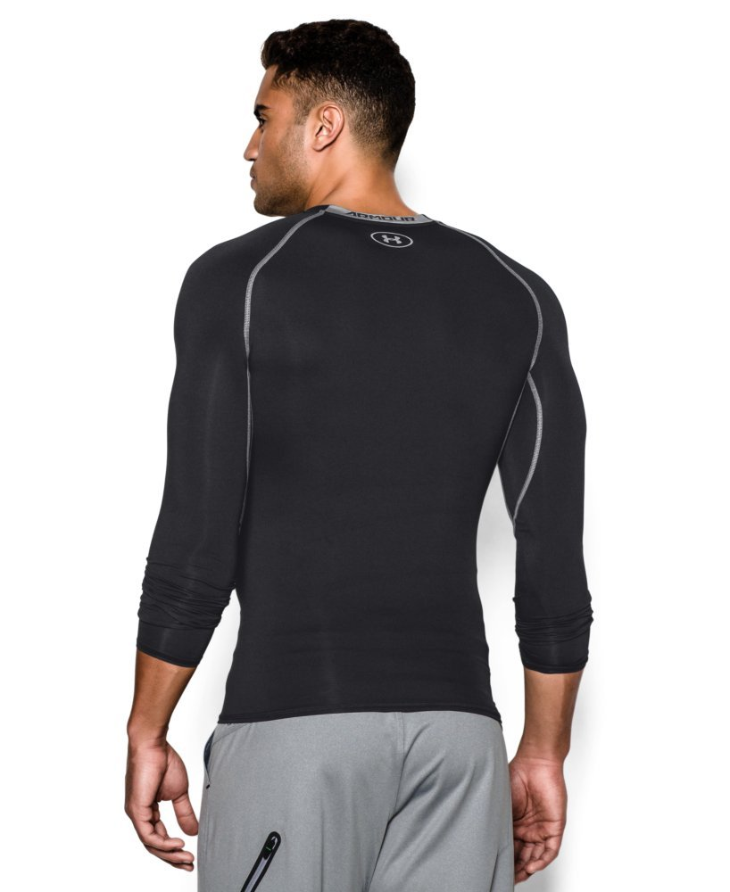 Under Armour Men's HeatGear Armour Long Sleeve Compression Shirt, Black (001)/Steel, X-Small by Under Armour (Image #2)