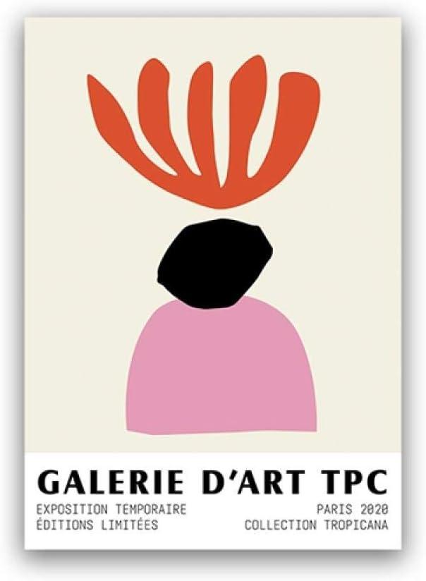 Abstracto Coral Arte Lienzo Impresión Museo Poster Minimalista Pared Arte Obra de Arte Rosa Rojo Pintura Moderno Salon Habitación Hogar Cuadros Decoracion 40X60cm No Enmarcado