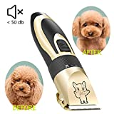 Dog Grooming Kit Clippers, Low Noise, Electric Quiet, Rechargeable, Cordless, Pet Hair Thick Coats Clippers Trimmers...