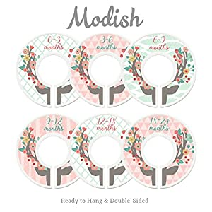 Modish Labels Baby Nursery Closet Dividers, Closet Organizers, Nursery Decor, Baby Girl, Deer, Floral Antlers, Flowers, Woodland 96
