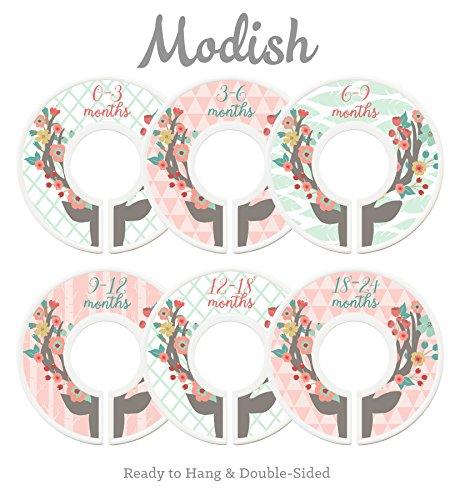 Modish Labels Baby Nursery Closet Dividers, Closet Organizers, Nursery Decor, Baby Girl, Deer, Floral Antlers, Flowers, - Deer Furniture Antler