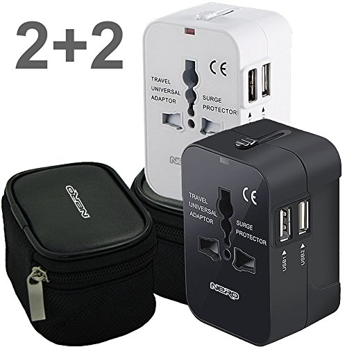 Travel Charging Adapter (2PACK Universal World Travel Adapter with Dual USB Charging Ports for any Cell Phones and other USB Charging Devices inc. 2 hard Pouches works in USA EU UK AUS Worldwide Outlet Wall AC Power Plug)
