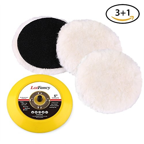 5-Inch Wool Polishing Pads and Velcro Backing Plate Kit - LotFancy Car Auto Velcro Buffing Pads, for Rotary and Random Orbit Sander/Polisher, Pack of 3+1
