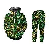 Green Hemp Leaf Weed 3D 2-Piece Set Hoodie