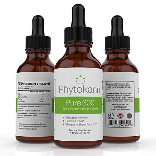 Phytokann Pure 300 Organic Hemp with 300 mg Full Spectrum Hemp Oil Extract helps with Pain, Sleep, Anxiety and overall Mood