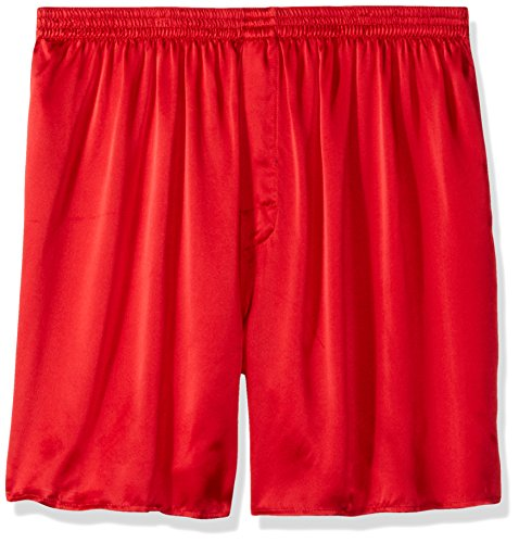 Intimo Men's Classic Silk Boxers - Big & Tall, Red, 2X