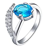 Women Wedding Rings Silver Plated Cubic Zirconia Blue Oval Rings for Engagement Size 7 by Aienid