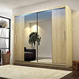CHECO HOME AND GARDEN BIG STYLISH SLIDING WARDROBE 204cm !! BIG MIRRORS !! LED !! MANY COLOURS !! (Sonoma Oak, With Led)