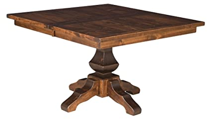 Amazoncom Amish 48 Square Plank Pedestal Dining Table Solid