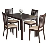 CorLiving DRG-595-Z Atwood 5-Piece Dining Set, with Beige Microfiber Seats