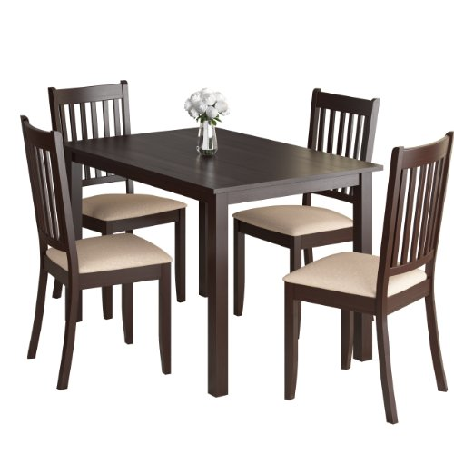 CorLiving DRG-595-Z Atwood 5-Piece Dining Set with Beige Microfiber Seats