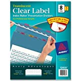 Wholesale CASE of 5 - Avery Index Maker Easy Apply Clear Label Strips-Index Label Dividers, Plastic, 8-Tab, 3HP Punched, Multi