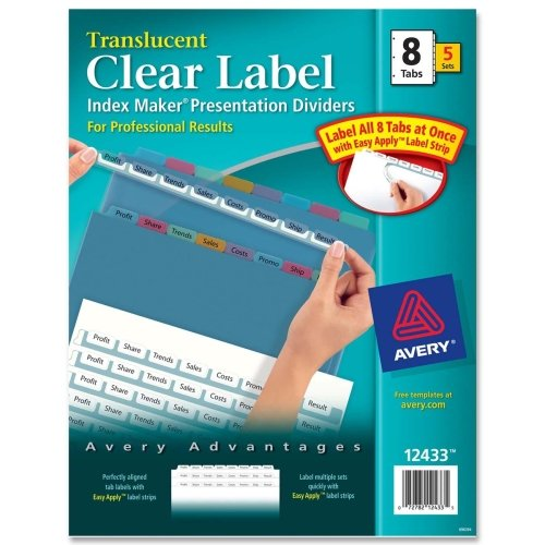 Wholesale CASE of 5 - Avery Index Maker Easy Apply Clear Label Strips-Index Label Dividers, Plastic, 8-Tab, 3HP Punched, Multi (Tab 3hp 5 Plastic Punched)